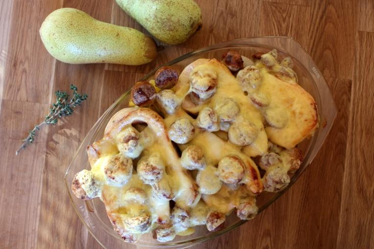 Kartoffel-Birnenauflauf mit grober Bratwurst01