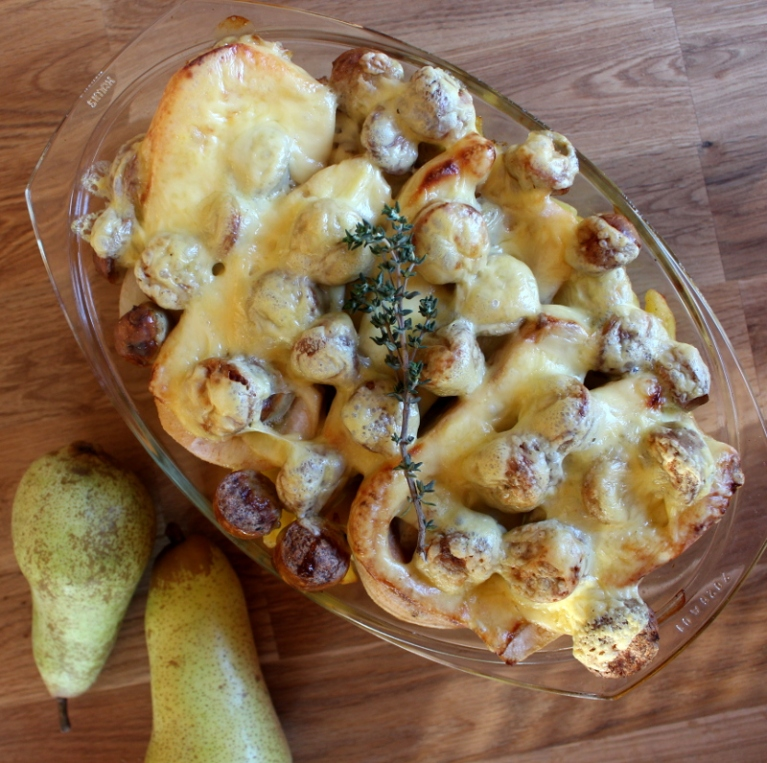 Kartoffel-Birnenauflauf mit grober Bratwurst06